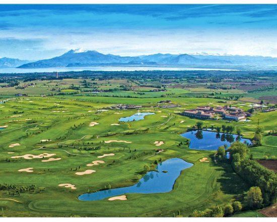 7 nights with breakfast at Chervò Golf Hotel Spa & Resort San Vigilio and three green fees per person (Chervò Golf San Vigilio, Paradiso del Garda and Gardagolf)
